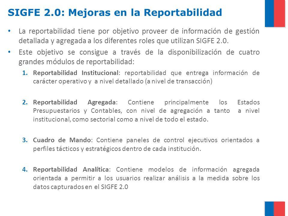 SIGFE 2.0: Mejoras en la Reportabilidad La reportabilidad tiene por objetivo proveer de información de gestión detallada y agregada a los diferentes r