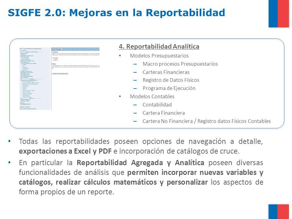 SIGFE 2.0: Mejoras en la Reportabilidad 4. Reportabilidad Analítica Modelos Presupuestarios – Macro procesos Presupuestarios – Carteras Financieras –