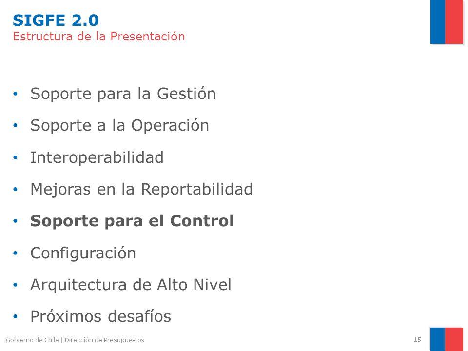 SIGFE 2.0 Estructura de la Presentación Soporte para la Gestión Soporte a la Operación Interoperabilidad Mejoras en la Reportabilidad Soporte para el