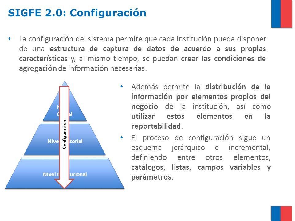 SIGFE 2.0: Configuración La configuración del sistema permite que cada institución pueda disponer de una estructura de captura de datos de acuerdo a s