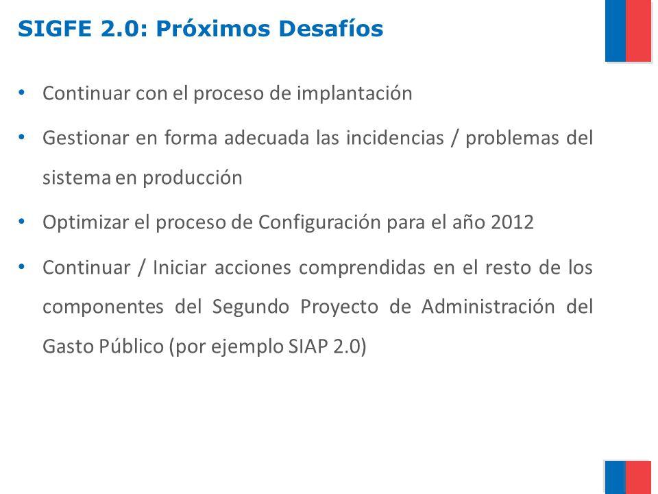 SIGFE 2.0: Próximos Desafíos Continuar con el proceso de implantación Gestionar en forma adecuada las incidencias / problemas del sistema en producció