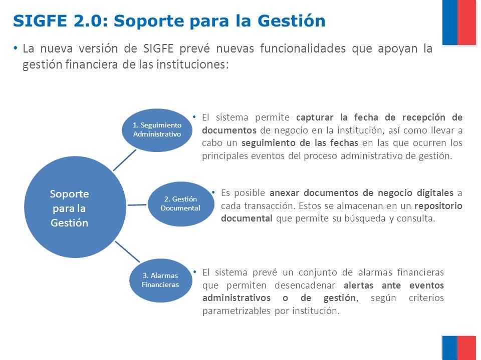 SIGFE 2.0: Soporte para la Gestión La nueva versión de SIGFE prevé nuevas funcionalidades que apoyan la gestión financiera de las instituciones: El si