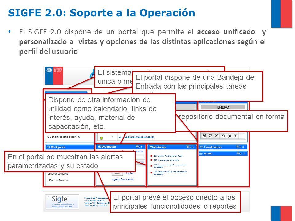 SIGFE 2.0: Soporte a la Operación El SIGFE 2.0 dispone de un portal que permite el acceso unificado y personalizado a vistas y opciones de las distint