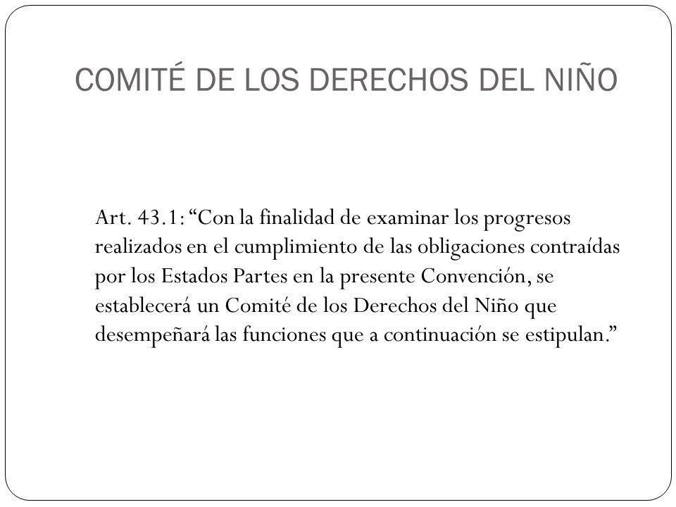 COMITÉ DE LOS DERECHOS DEL NIÑO Art.