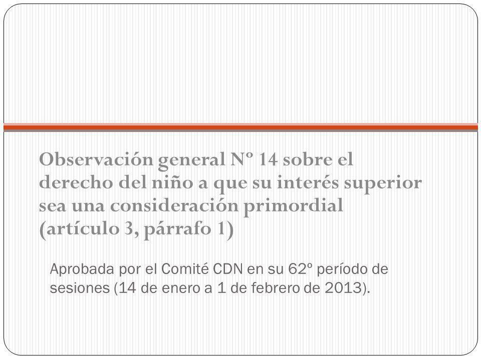 Aprobada por el Comité CDN en su 62º período de sesiones (14 de enero a 1 de febrero de 2013).
