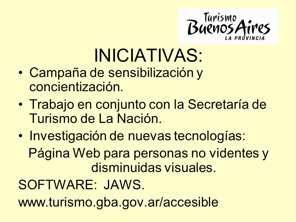 INICIATIVAS: Campaña de sensibilización y concientización. Trabajo en conjunto con la Secretaría de Turismo de La Nación. Investigación de nuevas tecn