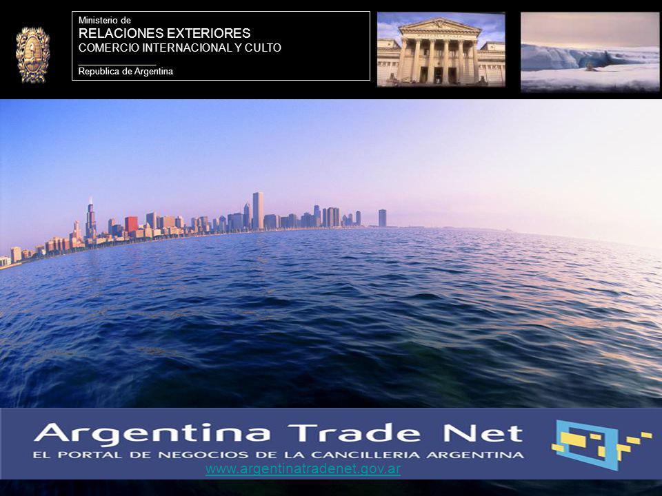 21 Ministerio de RELACIONES EXTERIORES COMERCIO INTERNACIONAL Y CULTO ________________ Republica de Argentina www.argentinatradenet.gov.ar