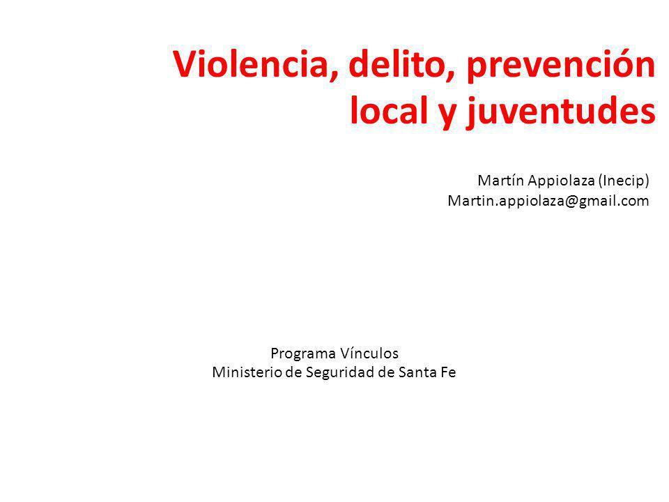 Violencia, delito, prevención local y juventudes Programa Vínculos Ministerio de Seguridad de Santa Fe Martín Appiolaza (Inecip) Martin.appiolaza@gmail.com