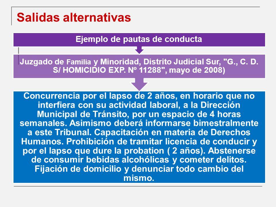 Salidas alternativas Concurrencia por el lapso de 2 años, en horario que no interfiera con su actividad laboral, a la Dirección Municipal de Tránsito, por un espacio de 4 horas semanales.