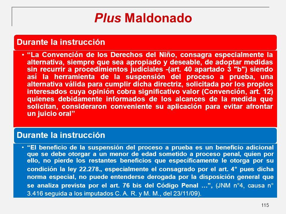 Plus Maldonado …) 115 Durante la instrucción La Convención de los Derechos del Niño, consagra especialmente la alternativa, siempre que sea apropiado y deseable, de adoptar medidas sin recurrir a procedimientos judiciales -(art.