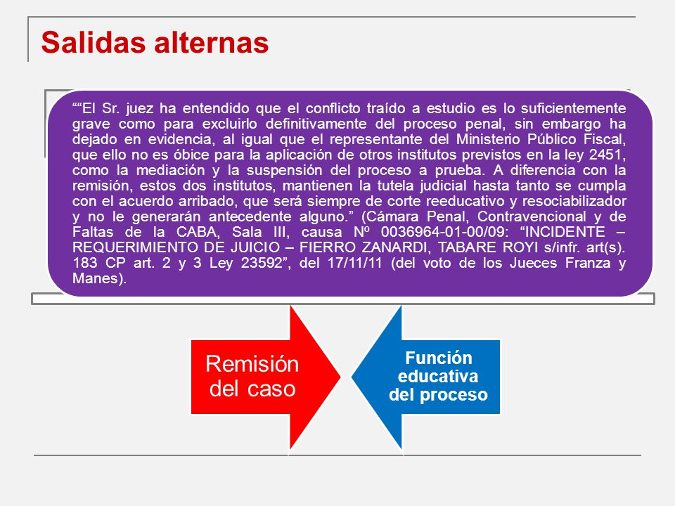 Salidas alternas Remisión del caso Función educativa del proceso El Sr.