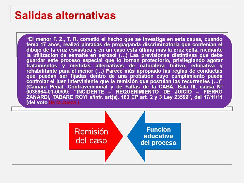 Salidas alternativas Remisión del caso Función educativa del proceso El menor F.