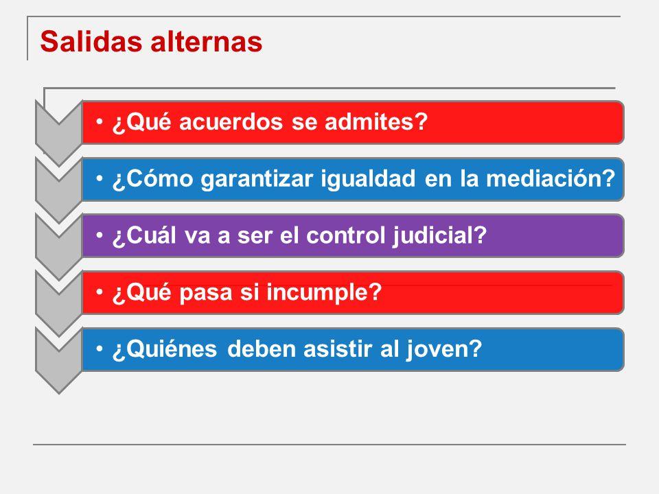 Salidas alternas ¿Qué acuerdos se admites?¿Cómo garantizar igualdad en la mediación?¿Cuál va a ser el control judicial?¿Qué pasa si incumple?¿Quiénes deben asistir al joven?
