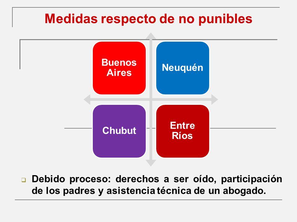 Medidas respecto de no punibles Debido proceso: derechos a ser oído, participación de los padres y asistencia técnica de un abogado.