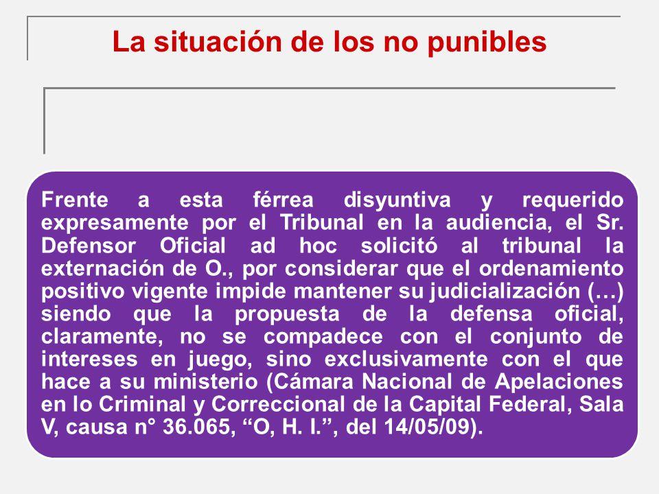La situación de los no punibles Frente a esta férrea disyuntiva y requerido expresamente por el Tribunal en la audiencia, el Sr.