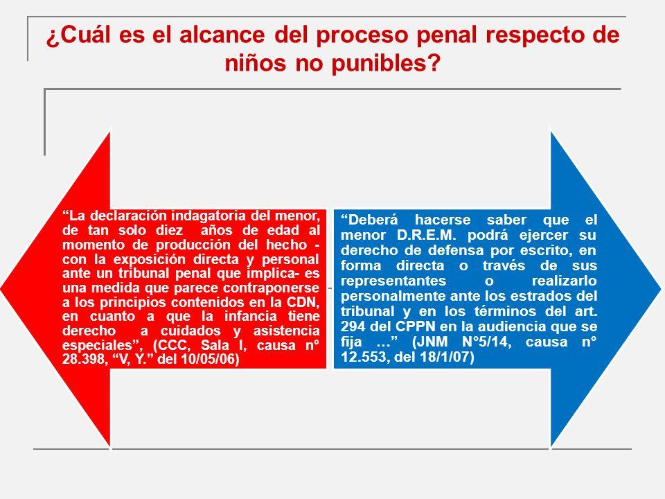 ¿Cuál es el alcance del proceso penal respecto de niños no punibles.