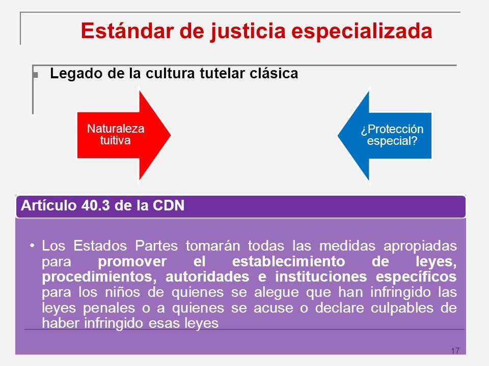 17 Estándar de justicia especializada Legado de la cultura tutelar clásica Naturaleza tuitiva ¿Protección especial.