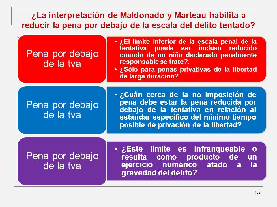 ¿La interpretación de Maldonado y Marteau habilita a reducir la pena por debajo de la escala del delito tentado.