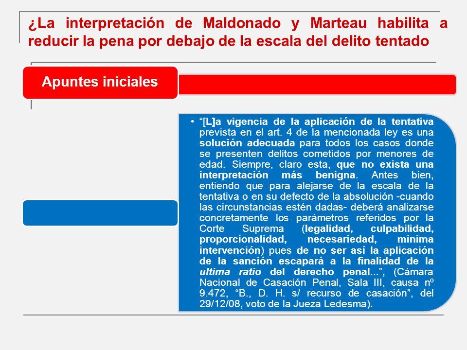 ¿La interpretación de Maldonado y Marteau habilita a reducir la pena por debajo de la escala del delito tentado Apuntes iniciales [L]a vigencia de la aplicación de la tentativa prevista en el art.