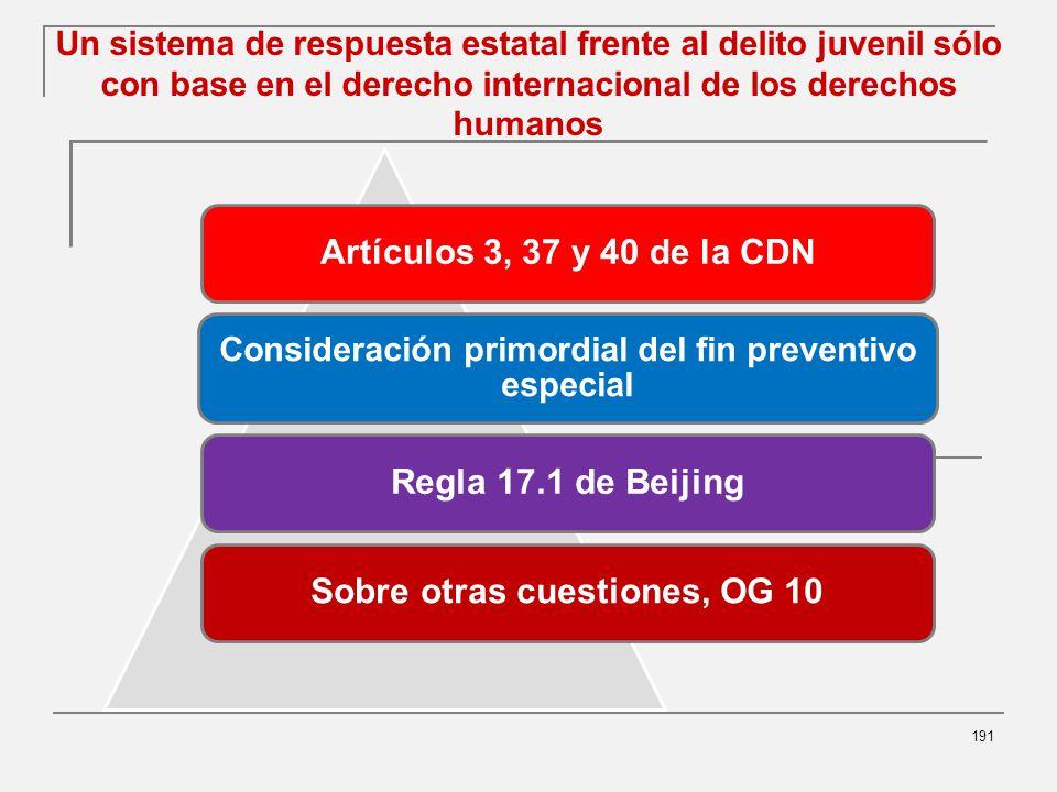 Un sistema de respuesta estatal frente al delito juvenil sólo con base en el derecho internacional de los derechos humanos 191 Artículos 3, 37 y 40 de la CDN Consideración primordial del fin preventivo especial Regla 17.1 de BeijingSobre otras cuestiones, OG 10