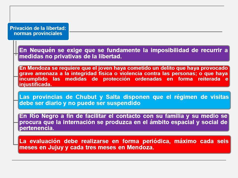 Privación de la libertad: normas provinciales En Neuquén se exige que se fundamente la imposibilidad de recurrir a medidas no privativas de la libertad.