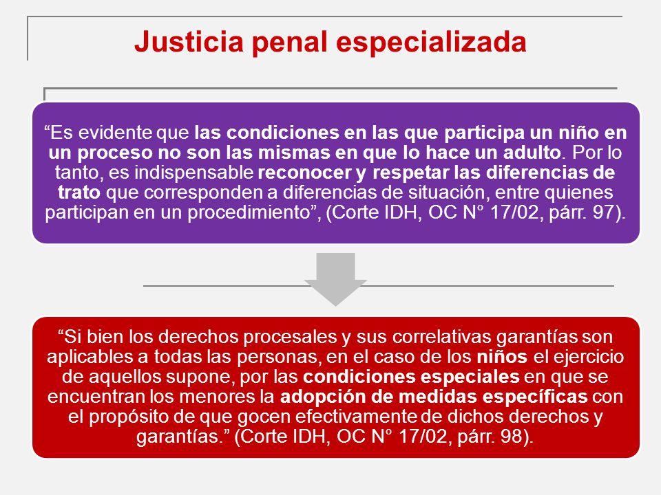 Justicia penal especializada Es evidente que las condiciones en las que participa un niño en un proceso no son las mismas en que lo hace un adulto.