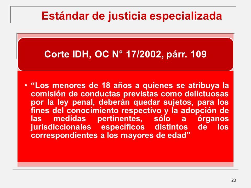 23 Estándar de justicia especializada Corte IDH, OC N° 17/2002, párr.