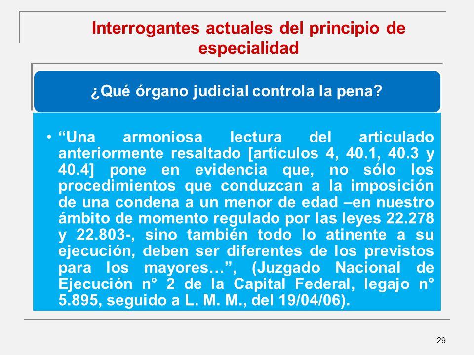 29 Interrogantes actuales del principio de especialidad ¿Qué órgano judicial controla la pena.