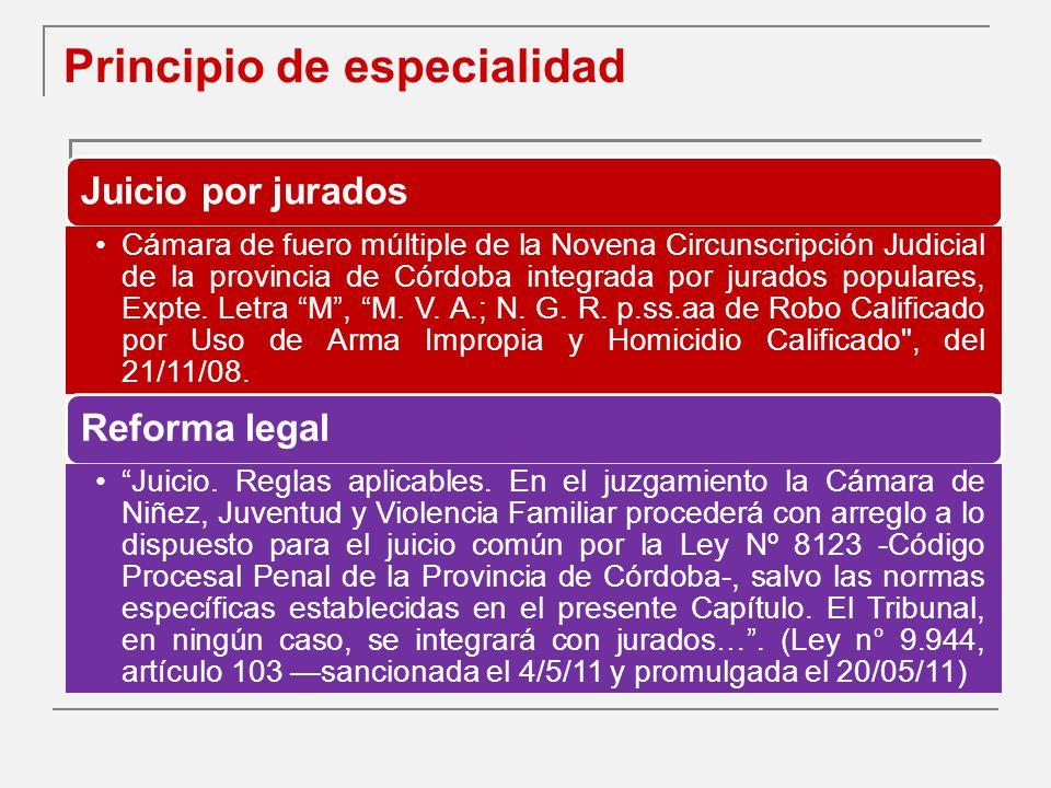 Principio de especialidad Juicio por jurados Cámara de fuero múltiple de la Novena Circunscripción Judicial de la provincia de Córdoba integrada por jurados populares, Expte.
