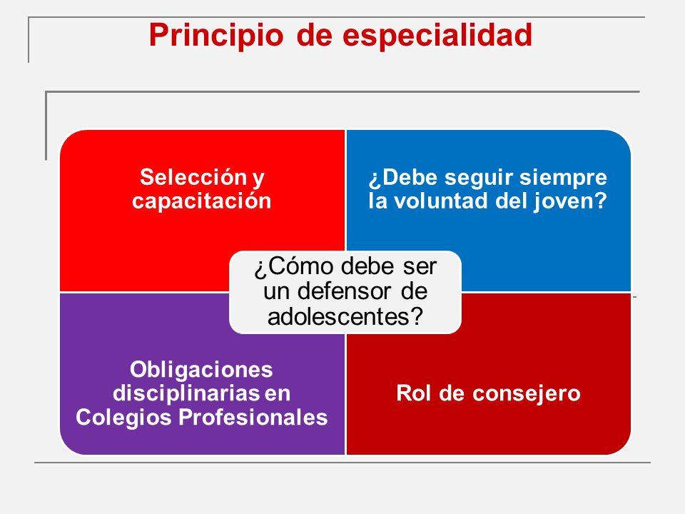 Principio de especialidad Selección y capacitación ¿Debe seguir siempre la voluntad del joven.