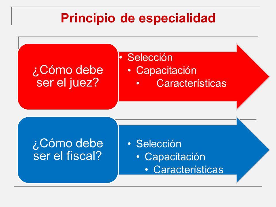 Principio de especialidad Selección Capacitación Características ¿Cómo debe ser el juez.