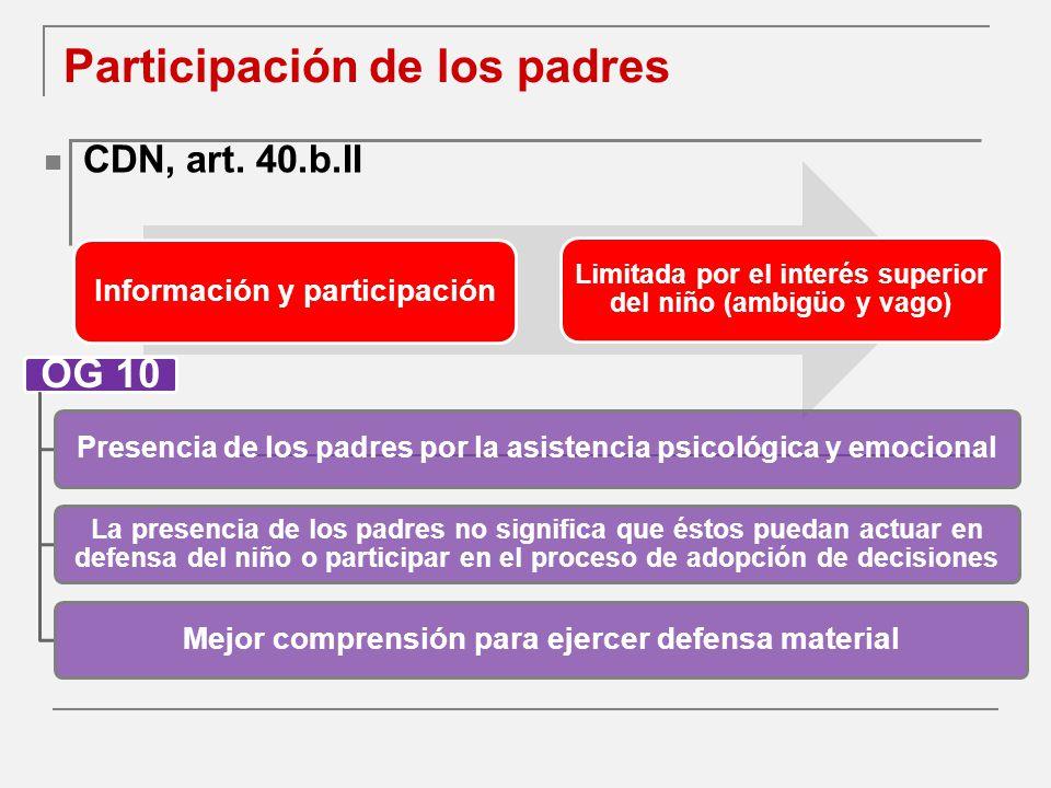 Participación de los padres CDN, art.