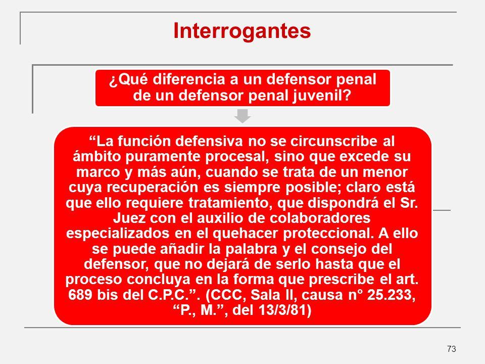 73 Interrogantes ¿Qué diferencia a un defensor penal de un defensor penal juvenil.
