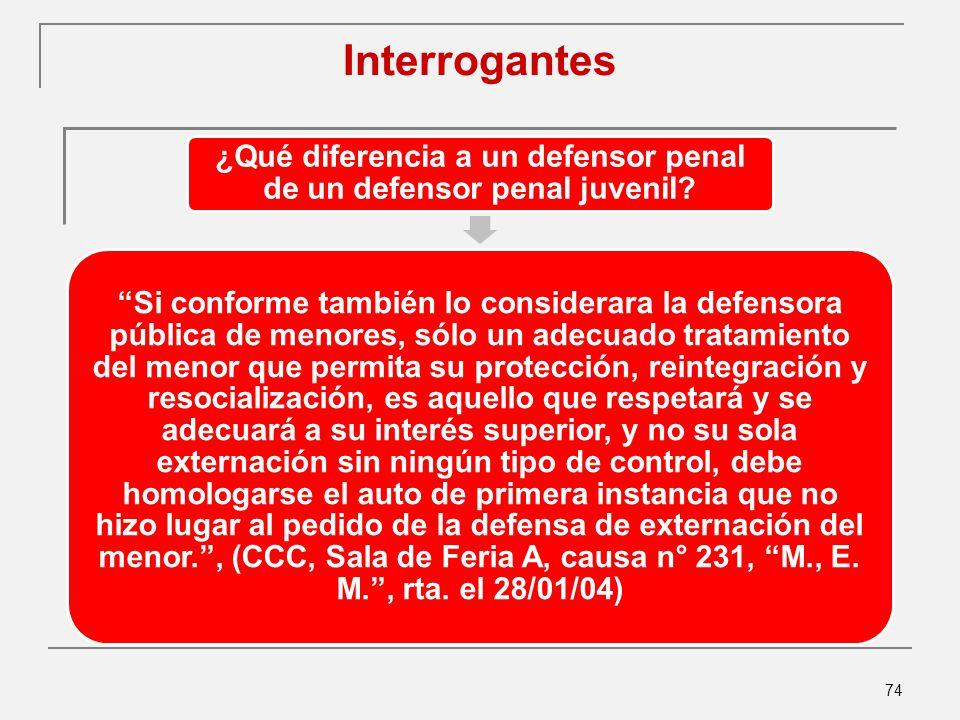 74 Interrogantes ¿Qué diferencia a un defensor penal de un defensor penal juvenil.