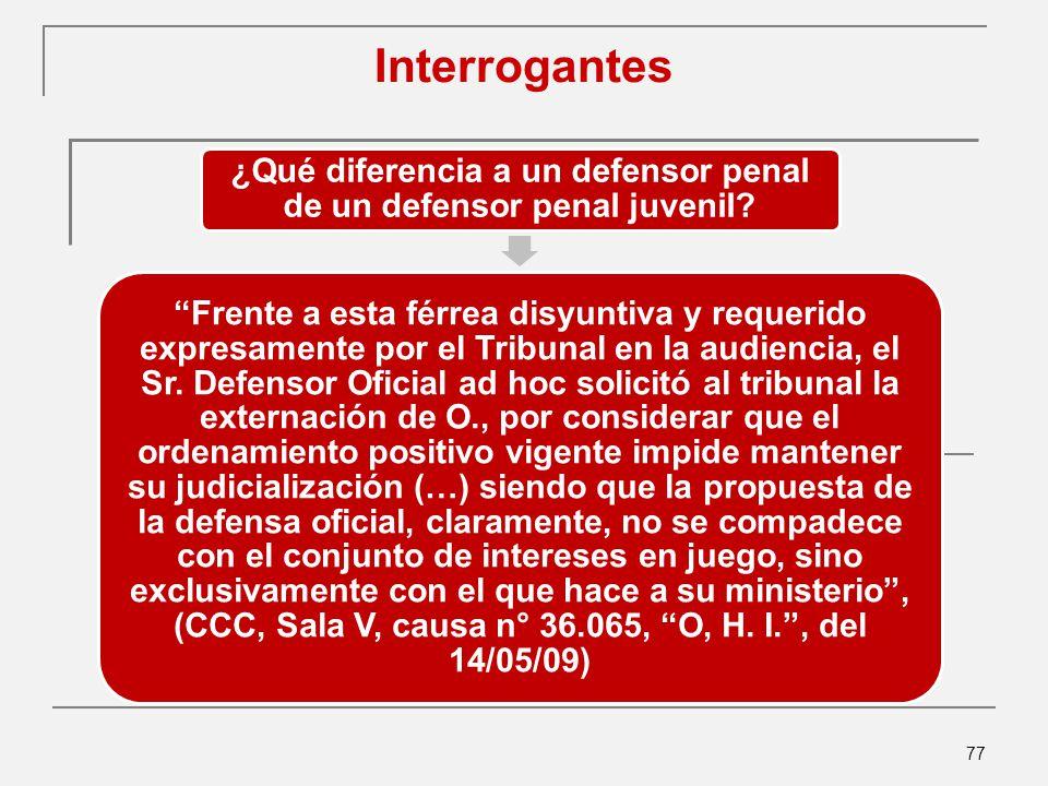 77 Interrogantes ¿Qué diferencia a un defensor penal de un defensor penal juvenil.