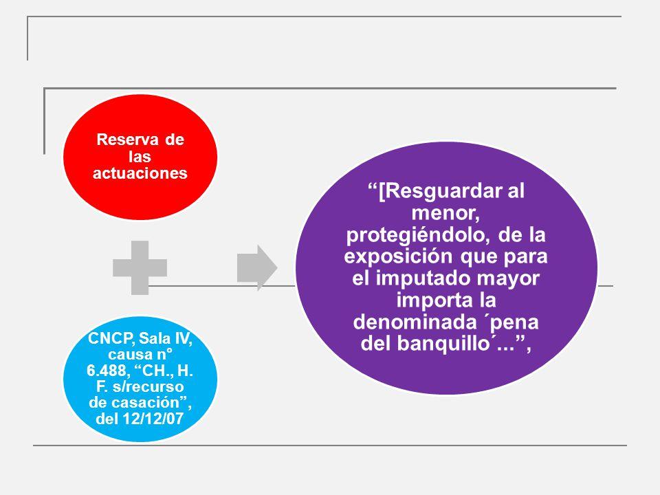 Reserva de las actuaciones CNCP, Sala IV, causa n° 6.488, CH., H.