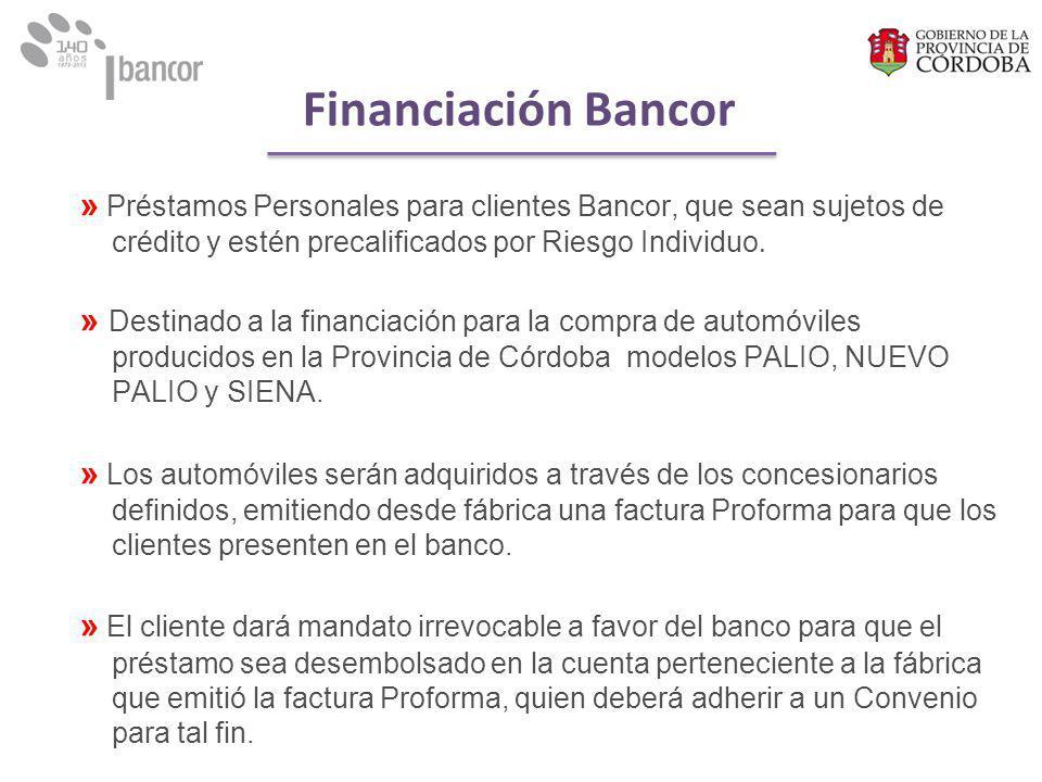 » Préstamos Personales para clientes Bancor, que sean sujetos de crédito y estén precalificados por Riesgo Individuo.