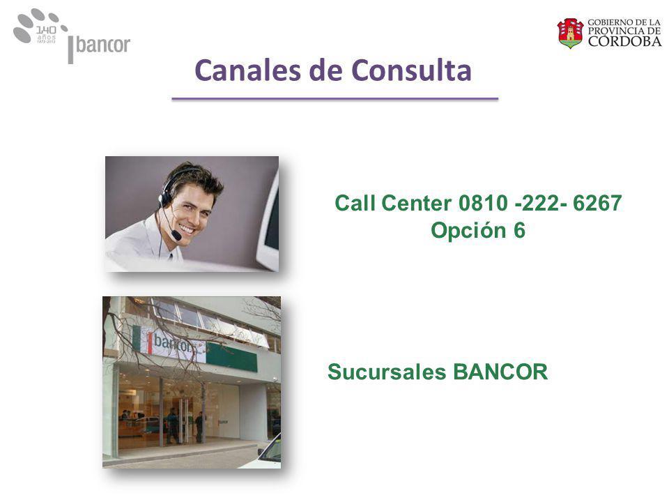 Sucursales BANCOR Call Center 0810 -222- 6267 Opción 6 Canales de Consulta
