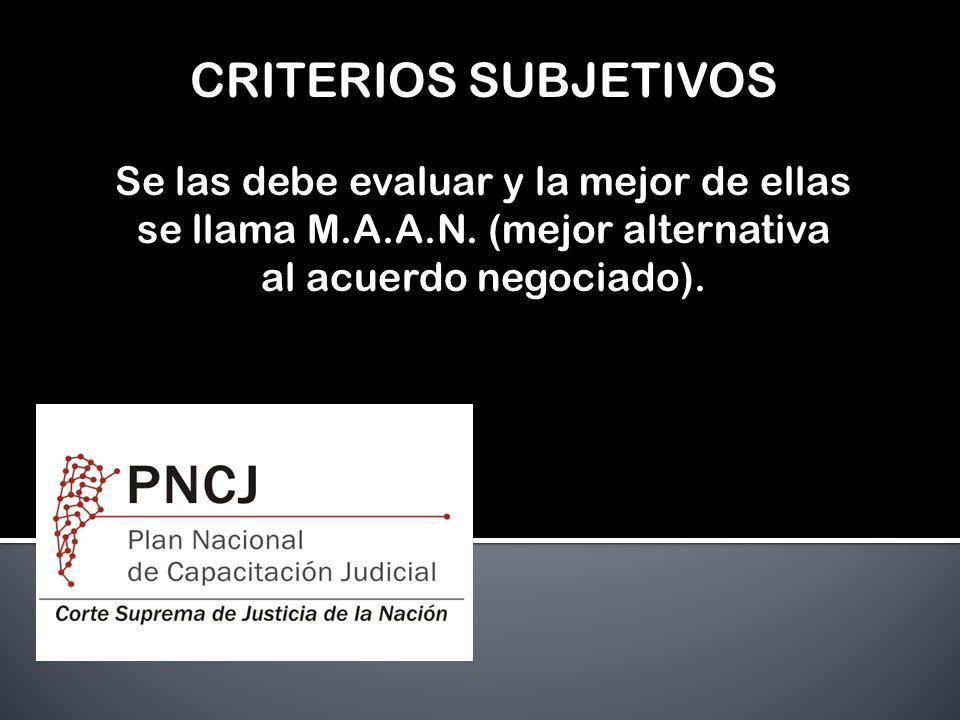CRITERIOS SUBJETIVOS Se las debe evaluar y la mejor de ellas se llama M.A.A.N. (mejor alternativa al acuerdo negociado).