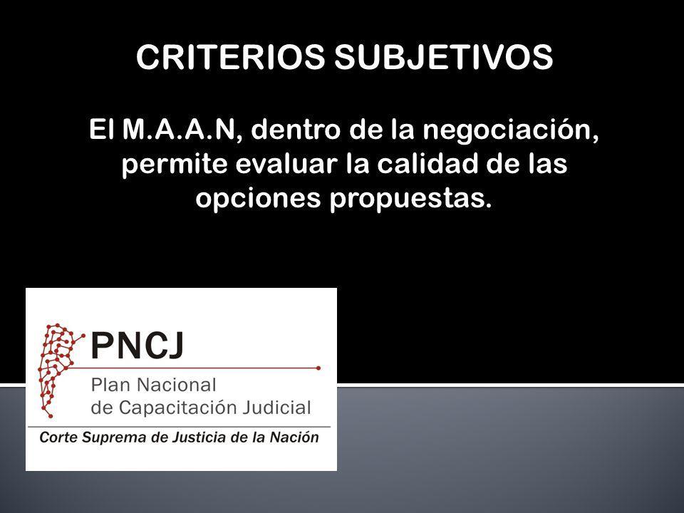 CRITERIOS SUBJETIVOS El M.A.A.N, dentro de la negociación, permite evaluar la calidad de las opciones propuestas.