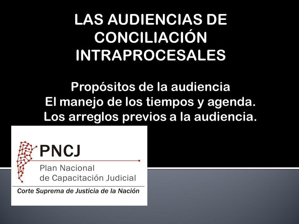 LAS AUDIENCIAS DE CONCILIACIÓN INTRAPROCESALES Propósitos de la audiencia El manejo de los tiempos y agenda. Los arreglos previos a la audiencia.