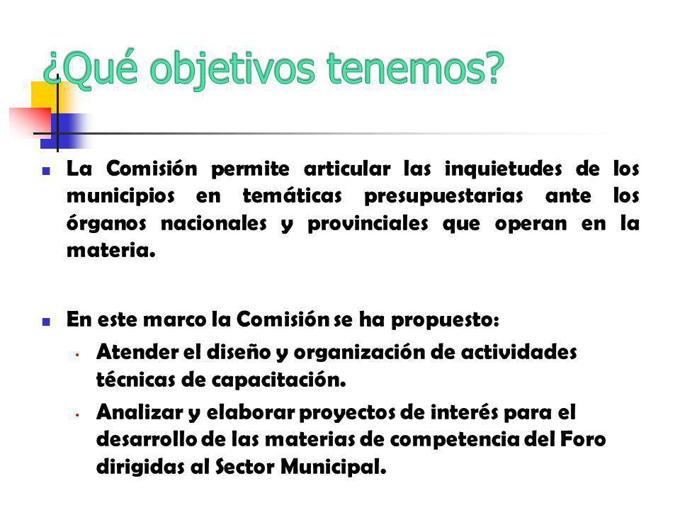 La Comisión permite articular las inquietudes de los municipios en temáticas presupuestarias ante los órganos nacionales y provinciales que operan en la materia.