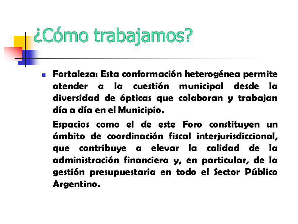 Fortaleza: Esta conformación heterogénea permite atender a la cuestión municipal desde la diversidad de ópticas que colaboran y trabajan día a día en el Municipio.