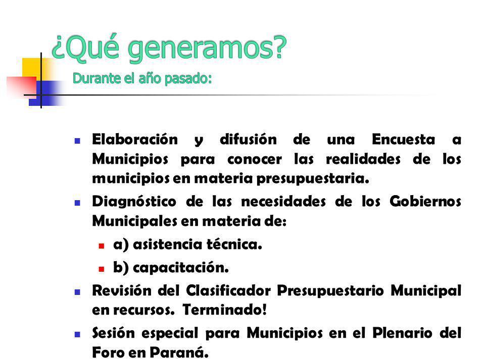 Elaboración y difusión de una Encuesta a Municipios para conocer las realidades de los municipios en materia presupuestaria.