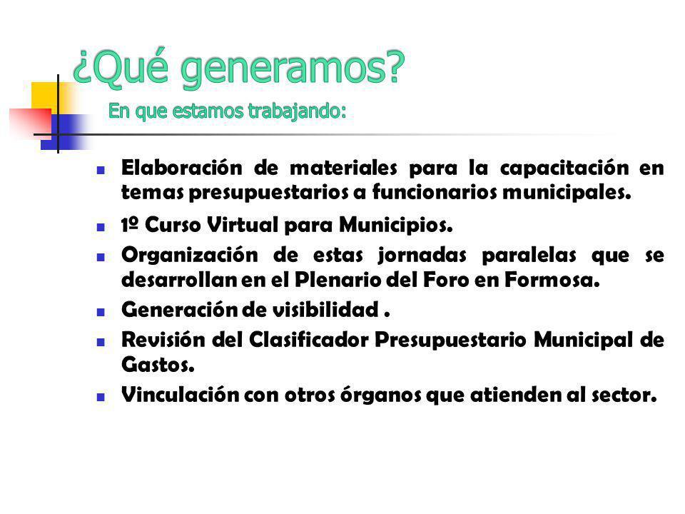 Elaboración de materiales para la capacitación en temas presupuestarios a funcionarios municipales.