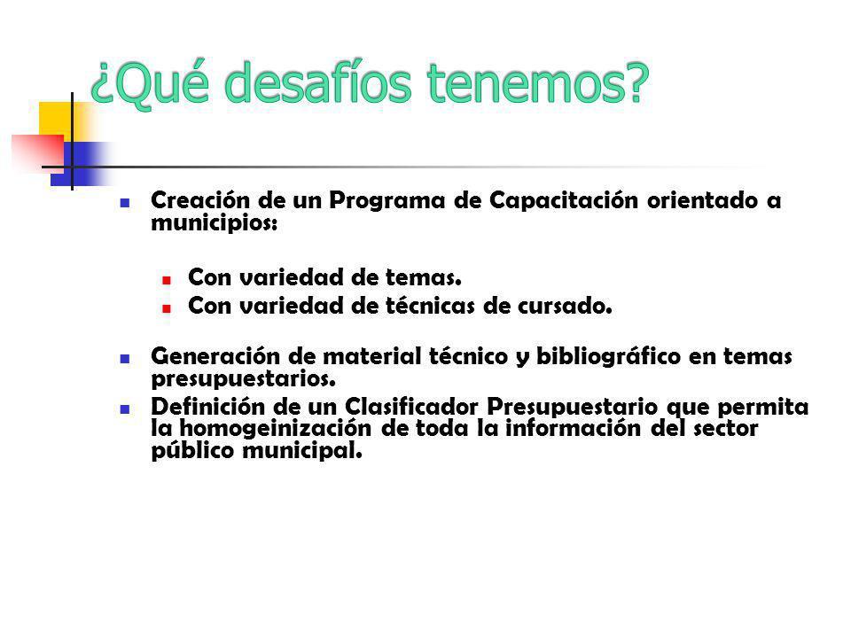 Creación de un Programa de Capacitación orientado a municipios: Con variedad de temas.