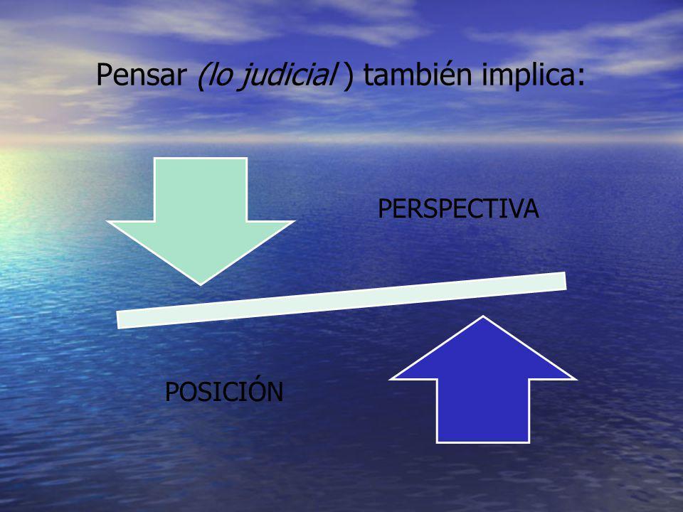 Pensar (lo judicial ) también implica: PERSPECTIVA POSICIÓN