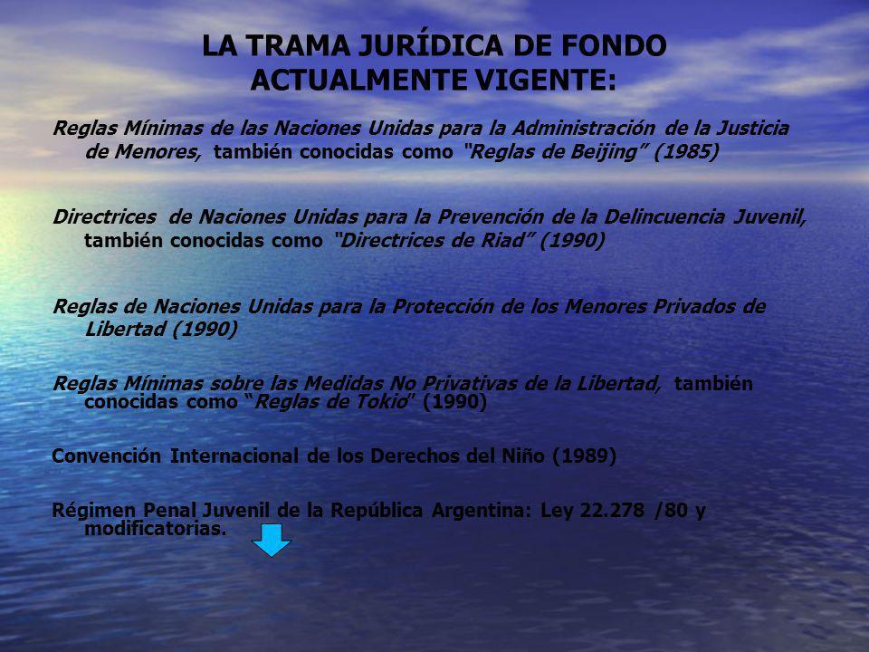 LA TRAMA JURÍDICA DE FONDO ACTUALMENTE VIGENTE: Reglas Mínimas de las Naciones Unidas para la Administración de la Justicia de Menores, también conoci