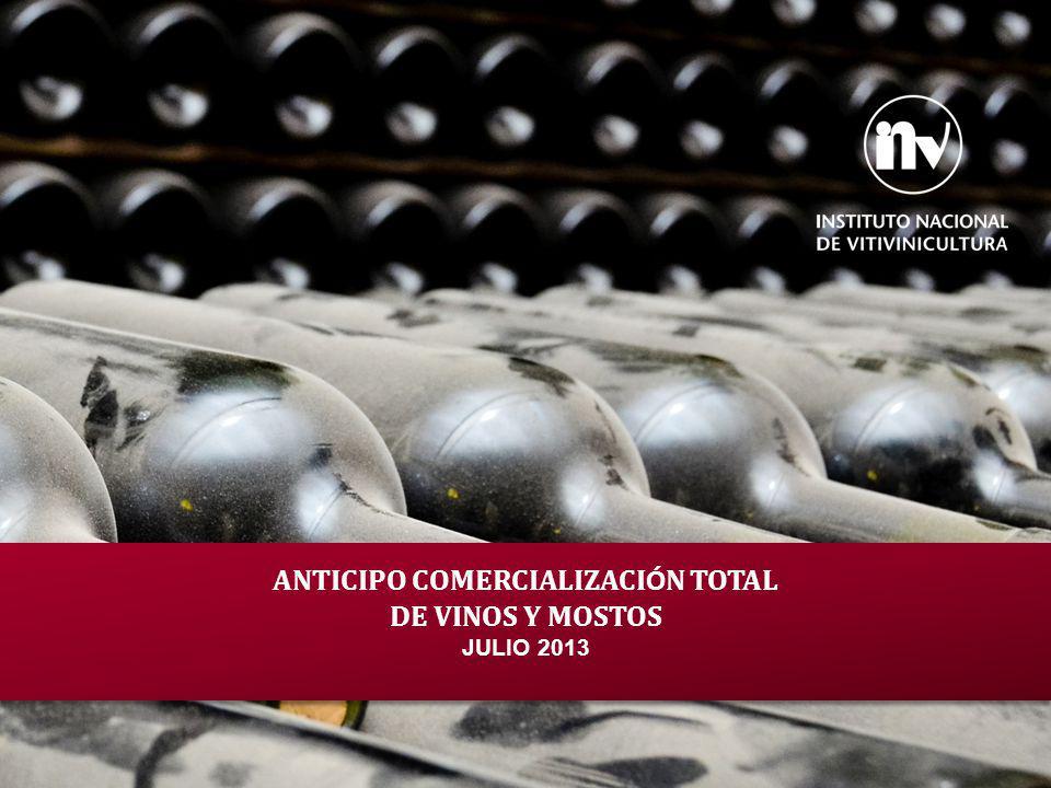 ANTICIPO COMERCIALIZACI Ó N TOTAL DE VINOS Y MOSTOS JULIO 2013