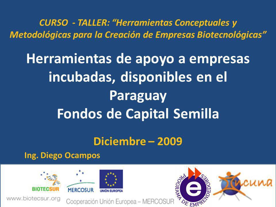 Herramientas de apoyo a empresas incubadas, disponibles en el Paraguay Fondos de Capital Semilla Diciembre – 2009 Ing. Diego Ocampos CURSO - TALLER: H